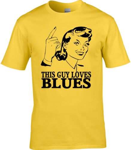 Blues Mens T-Shirt Love Music Rhythm Jazz Rock Instrument Birthday Gift Idea