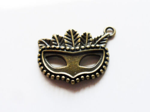 10 x Masquerade Mask Charms Pendants Findings 20mm x 15mm Antique Bronze LF NF