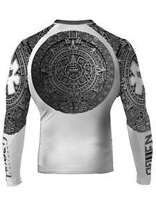Raven Fightwear Men's Aztec Ranked Rash Guard MMA BJJ White