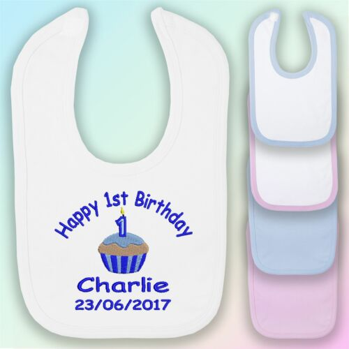 Boy Embroidered Baby Bib Gift Personalised First Happy 1st Birthday