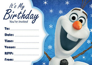 Image Is Loading Frozen Olaf Birthday Party Invitations 10 20 Or