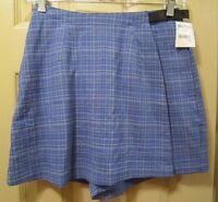 Sz 4 Rei Womens Blue Plaid Morocco Skort, Polyester Nylon Blend, Nwts, $40