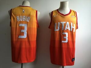 check out d6dea 9aed2 Details about Men's Utah Jazz #3 Ricky Rubio Orange City Edition Basketball  Jersey