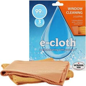 e-Cloth-Glass-Window-Pack-2-Microfibre-Cleaning-amp-Polishing-Cloths-No-Chemicals