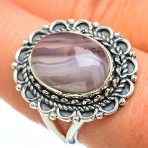 Botswana-Agate-925-Sterling-Silver-Ring-Size-8-25-Ana-Co-Jewelry-R45312F