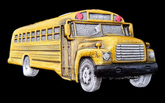 YELLOW SCHOOL BUS TRANSPORTATION DRIVERS BELT BUCKLES BOUCLE DE CEINTURE