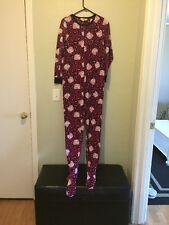 Hello Kitty Women's Footie Pink Leopard Print Pajamas Sz Med 7/9 (c3)