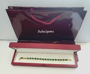 Green-emerald-oval-tennis-bracelet-gift-idea-Brilliant-gift-boxed-free-postage