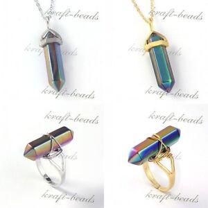 Natural-Titanium-Quartz-Rainbow-Hexagon-Prism-Stone-Pendant-Necklace-Finger-Ring