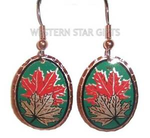 Maple-Leaf-Copper-Earrings-Silver-Plated-Colorful-Handmade-Jewelry-Green-Red