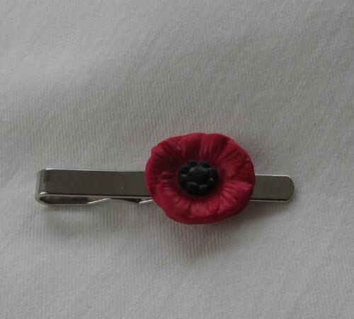 Unusual Fimo Red /& Black Poppy Flower Mens Man Tie Pin Slide Handmade in UK