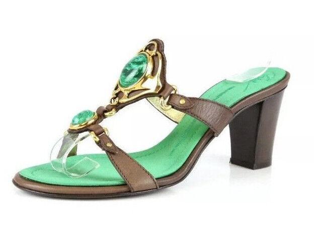 Giuseppe Zanotti Ella Green Jewel Stone Green Mules Sandals Size 37  595