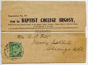 India Birmania GIORNALE Wrapper 1935 Baptist College ARGOSY Rangoon per USA (R778)
