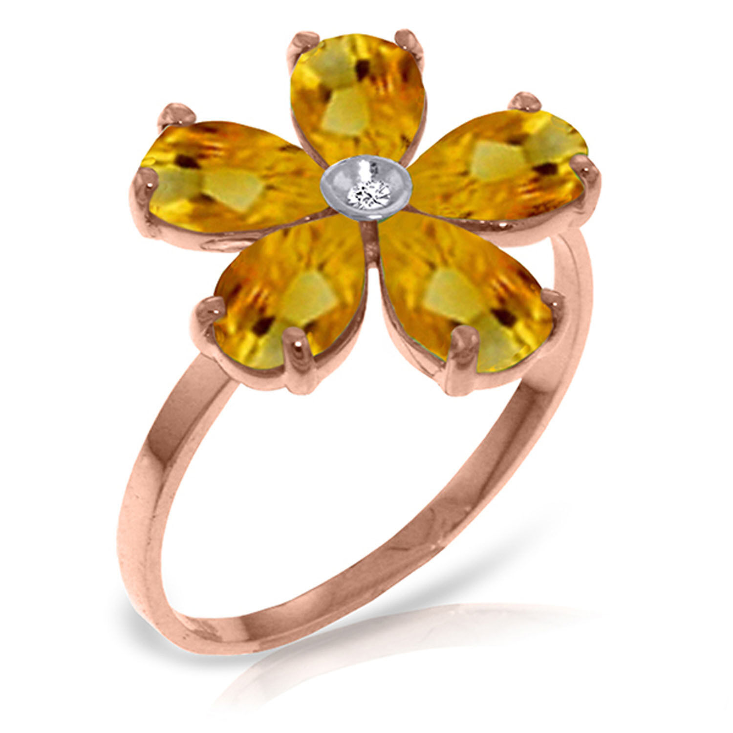 Brand New 14K Solid pink gold Ring w Natural Diamond & Citrines