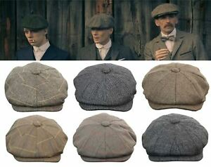 Mens Tweed Newsboy Cap Peaky Blinders Baker Boy Flat Check Grandad ... 93908f705a7