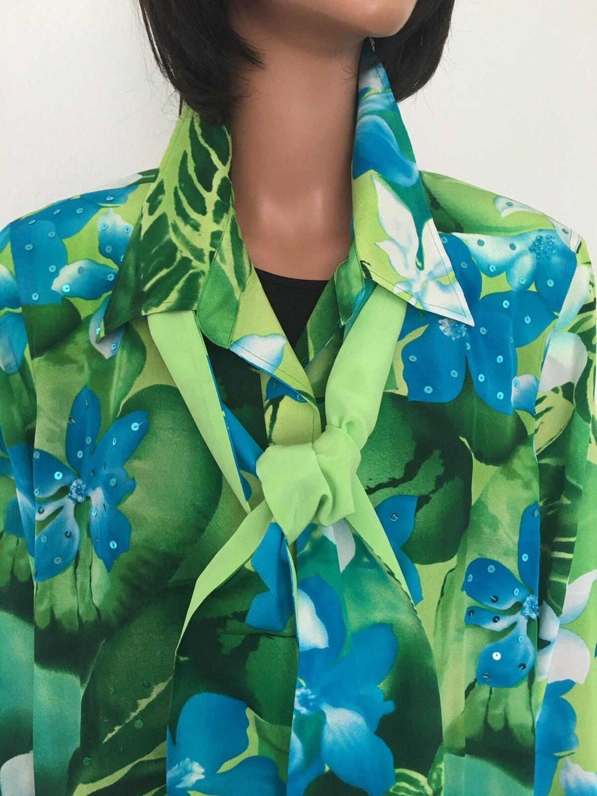 Diane Gilman 1X Plus Größe Silk Woherren Tunic Shirt Beaded Floral Tropical Scarf