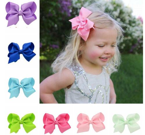 Cute Boutique Ribbon Bow Hair Clip Kids Children Girls Hairpins 20 Colors//Lot
