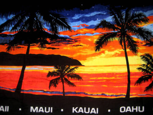 Hawaiian Hawaii Design LARGE Beach Pool Bath Towel 67 x 40 ~ BEACH SUNSET