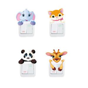 Lichtschalter-Wandsticker-Aufkleber-WandTattoo-Kinder-Tiere-Motiv-Elefant-Panda