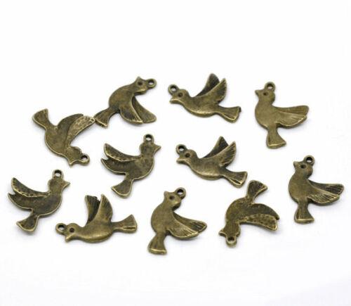10 x Anhänger Vogel Bronze 22x15mm