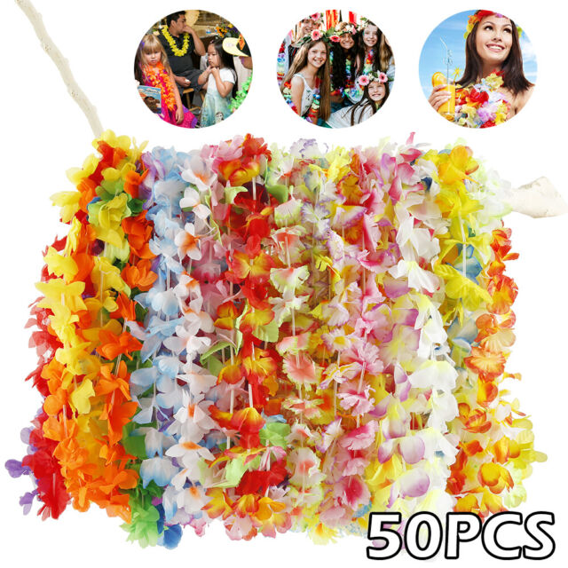 50pcs Hawaiian Flower Garland Lei Necklace Hawaii Summer Beach Party Dress Decor