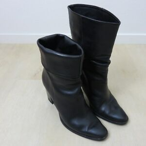 b1227ed7631 Details about Massimo Dutti 40 Size 9 US Black Leather Boots 4