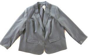 6c2415fe297 Lane Bryant Grey Striped Polyester Stretch Suit Blazer Jacket 24 NWT ...