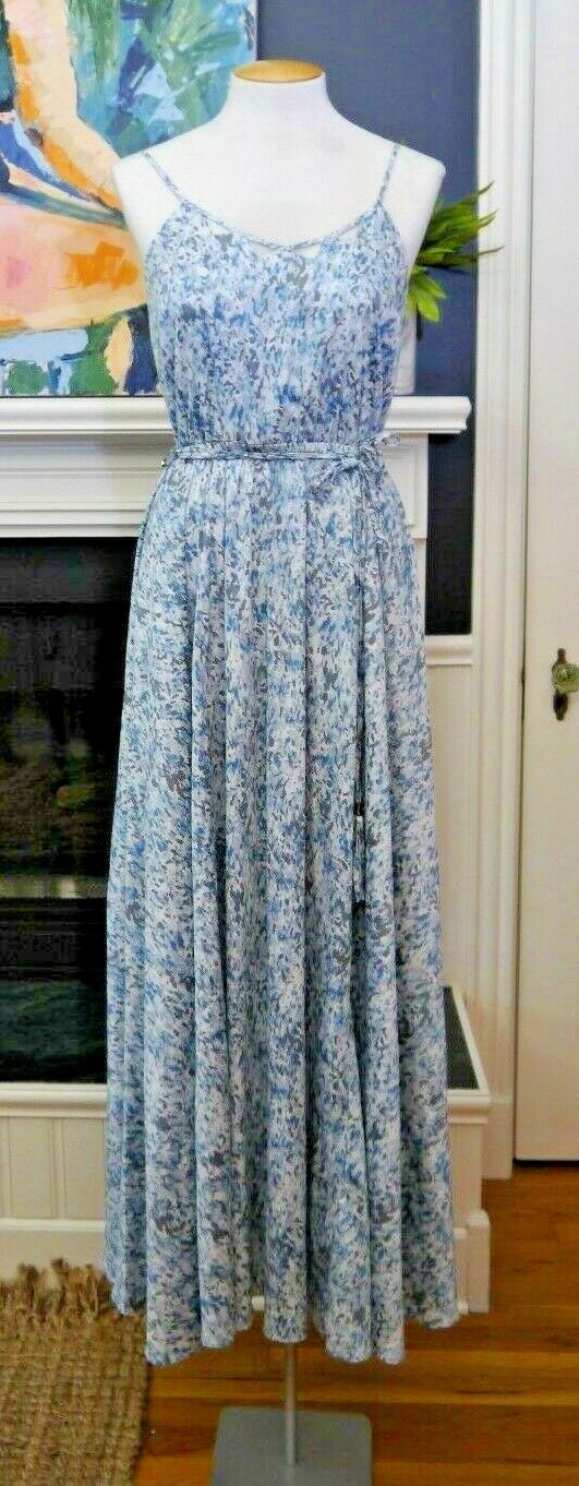 Catherine Malandrino Maxi Dress Size 2 bluee Floral Silky Flowers Peasant Cutouts