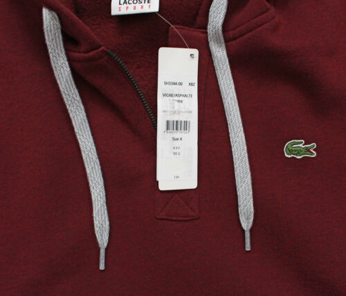 SWEATER SH3344 MAROON New Was £90.00 LACOSTE SMALL CROC MEN/'S PULL OVER HOODIE