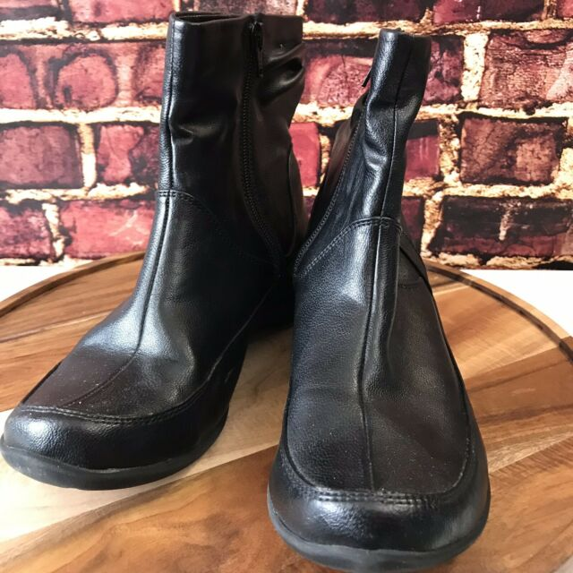 Hush Puppies Black Leather Zip Up Slip On Ankle Boots Size 9 M Women's