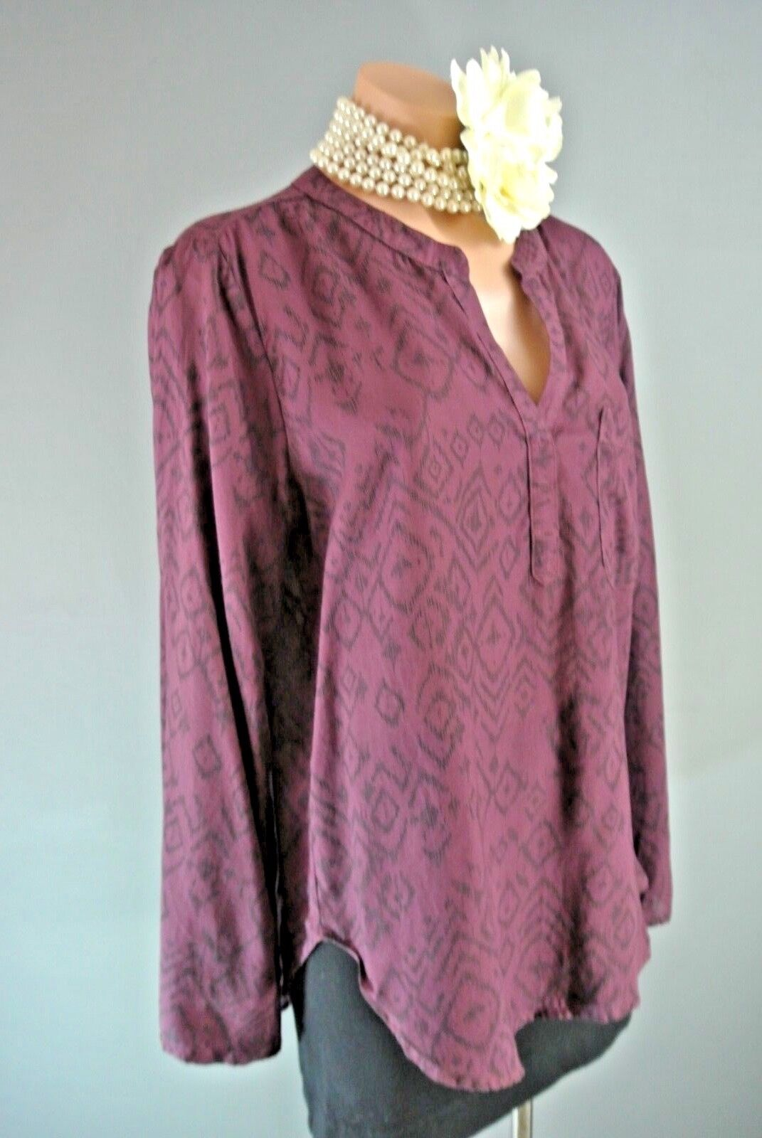 Brand New  Side Stitch  Long Sleeve Top Größe S Burgundy Tunic Casual Work BOHO