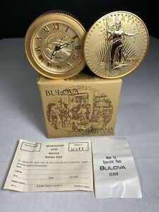 Vintage-BULOVA-Clock-Gold-LIBERTY-WINDING-ALARM-CLOCK-AMERICANA-COLLECTION-Japan