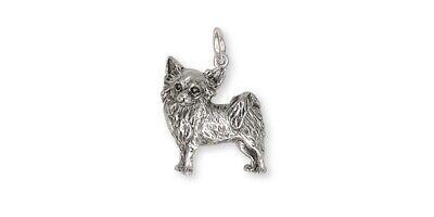 Long Hair Chihuahua Pendant Jewelry Sterling Silver Handmade Dog Pendant CU8-P