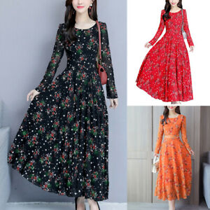 Fitness-Women-Short-Sleeve-Round-Neck-Floral-Print-Dress-Elegant-Long-Maxi-Dress