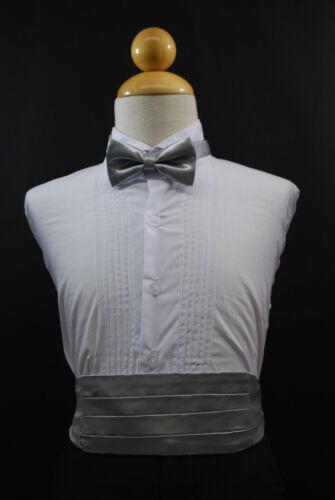Wedding Party SILVER CUMMERBUND CUMBERBAND + BOW TIE Boy Children Tuxedo Suit