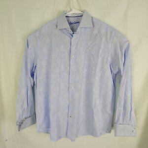Robert-Graham-Mens-Blue-Button-Up-Shirt-L-XL-Long-Sleeve-Flip-Cuff-17