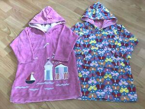 JoJo Maman Bebe Lovely Girl's 2 x Hooded Towelling Beach Dresses Size 1-2 years!