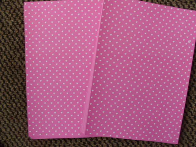 WHITE HEARTS ON PINK  10 SHEETS A4 ONE SIDED 250 GSM SLIGHT SECONDS CARD