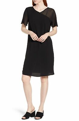 NWT Eileen Fisher Black Silk Georgette VShort Sleeve Shift Dress $298 XS S M XL