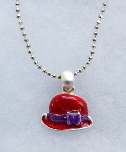New silver tone Necklace Ladies of the Red Hat Rhinestone Pendant Charm C