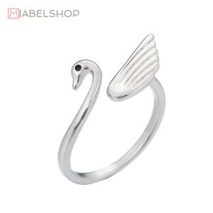 925-Sterlingsilber-Damen-Ring-Ringe-Vintage-Schwan-Vogel-Swan-Silber-Filigran