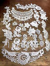 VINTAGE VENISE #102 APPLIQUES LACE 24 pcs Assorted Cotton Rayon Ivory White