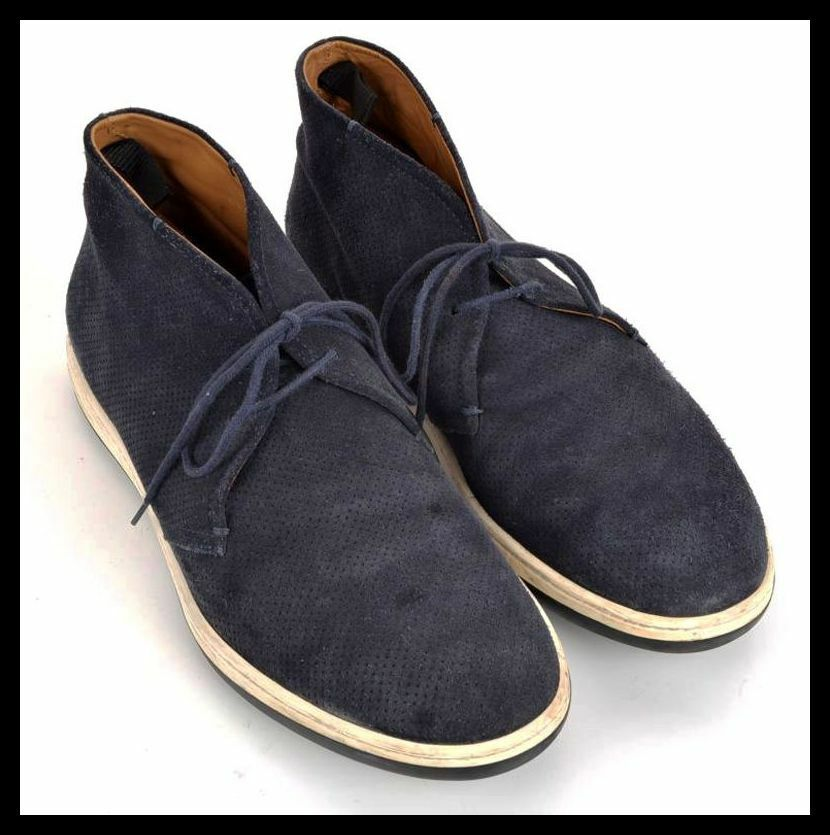 GIORGIO ARMANI bluee Perforated Suede Leather Chukka Lace Up Ankle Boots - 9 M