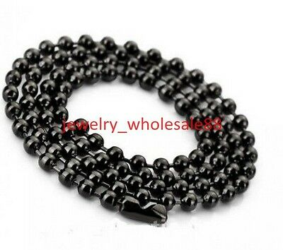 3.2mm/4mm Ball Beads Chain Necklace Black Stainless Steel Jewelry For Women Men