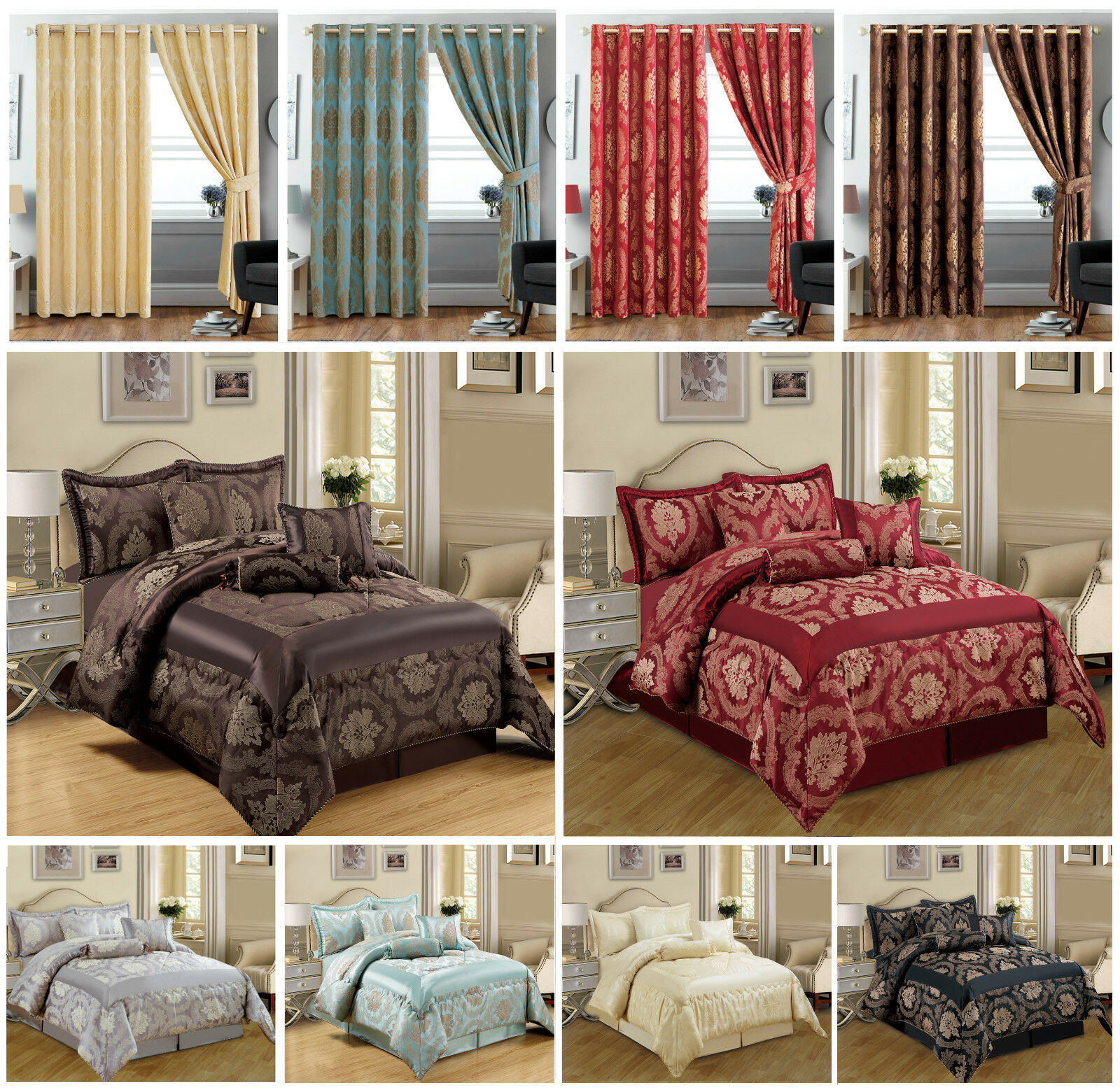 JACQUARD 7 PIECE QUILTED BEDSPREAD COMFORTER BEDDING SETS WITH EYELET CURTAINS