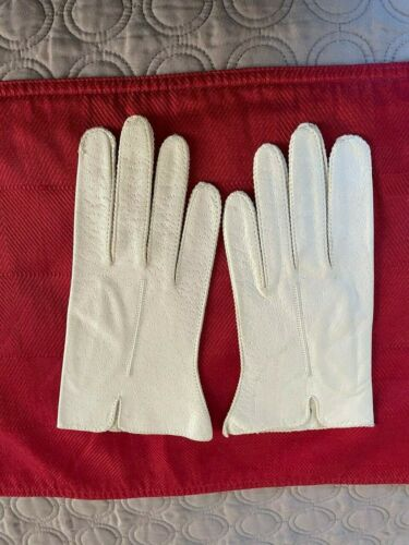 Vintage Leather White Gloves Genuine Deerskin Wash
