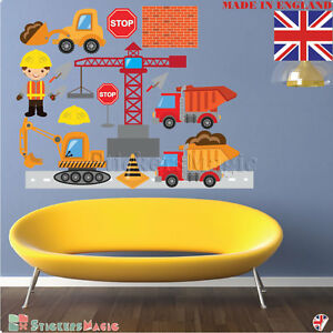 Details about Construction Wall Stickers Digger Vehicles Kids Boys  Childrens Bedroom Decals