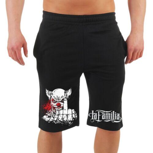 Männer Kurze Hose Shorts La Familia FUCK YOU Joker Clown Premium Streetwear Gang