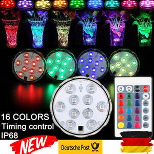 10-LED-Unterwasser-Licht-RGB-Deko-Beleuchtung-Lampe-Fernbedienung-Aquarium-Teich