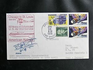 USA-50-YEARS-OF-FLYING-MAIL-CHICAGO-TO-SAINT-LOUIS-15-AVRIL-1976-TBE